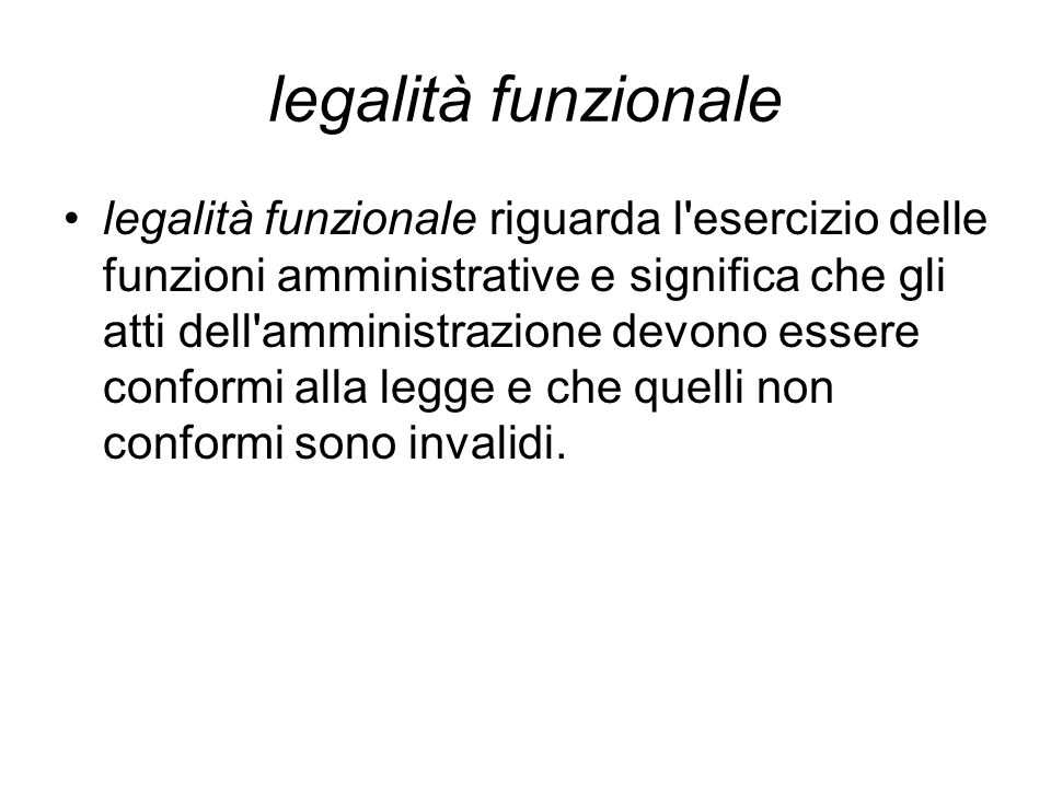 legalità funzionale