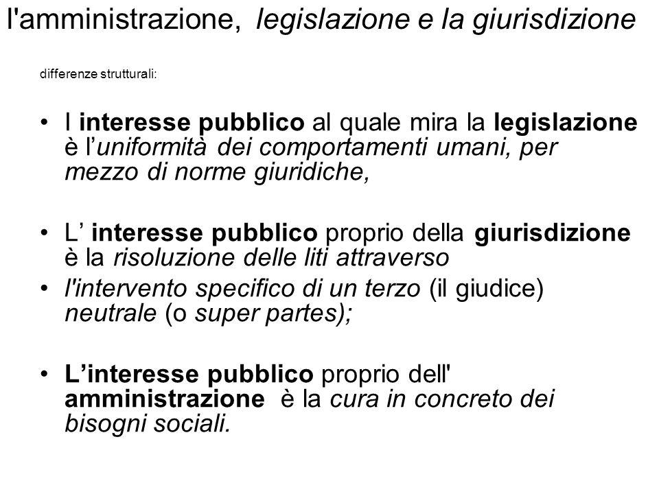 l amministrazione, legislazione e la giurisdizione