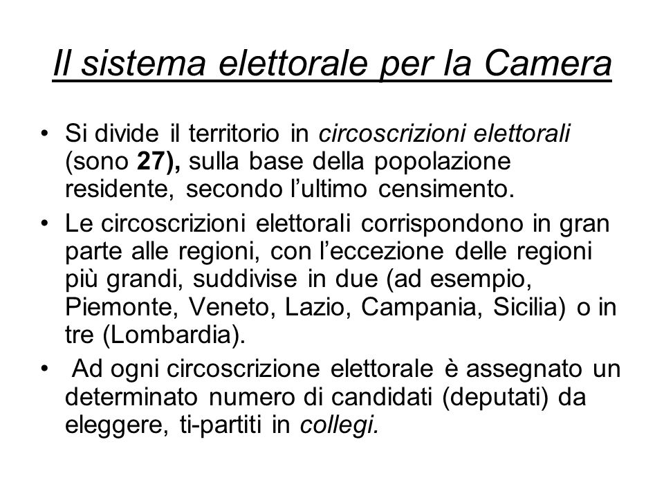 I sistemi elettorali ppt video online scaricare for Deputati numero