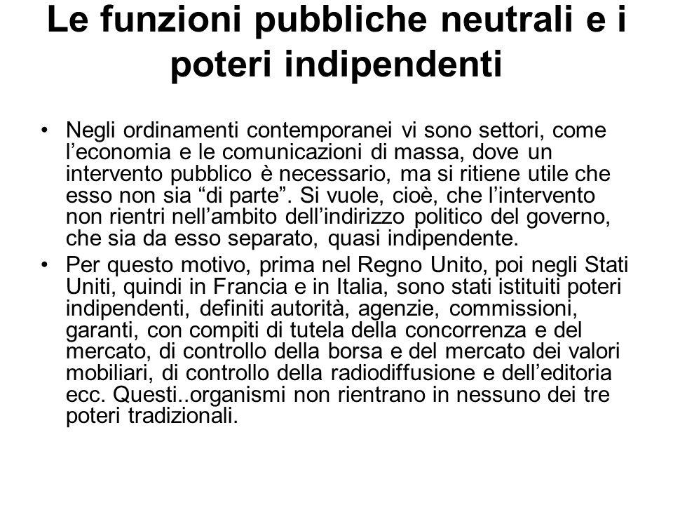 Le funzioni pubbliche neutrali e i poteri indipendenti
