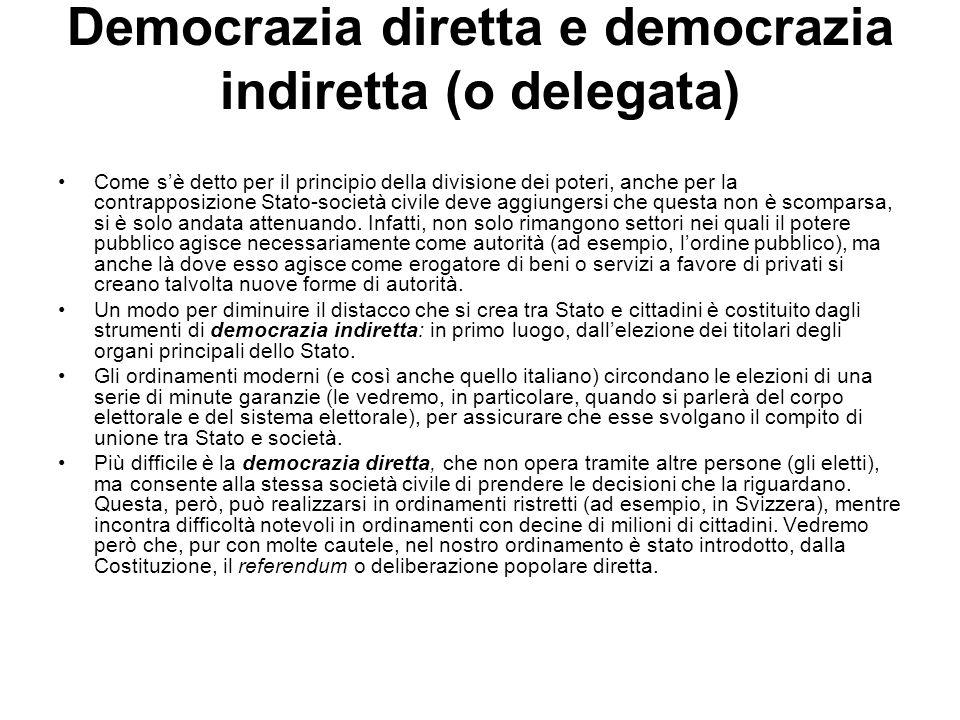 Democrazia diretta e democrazia indiretta (o delegata)
