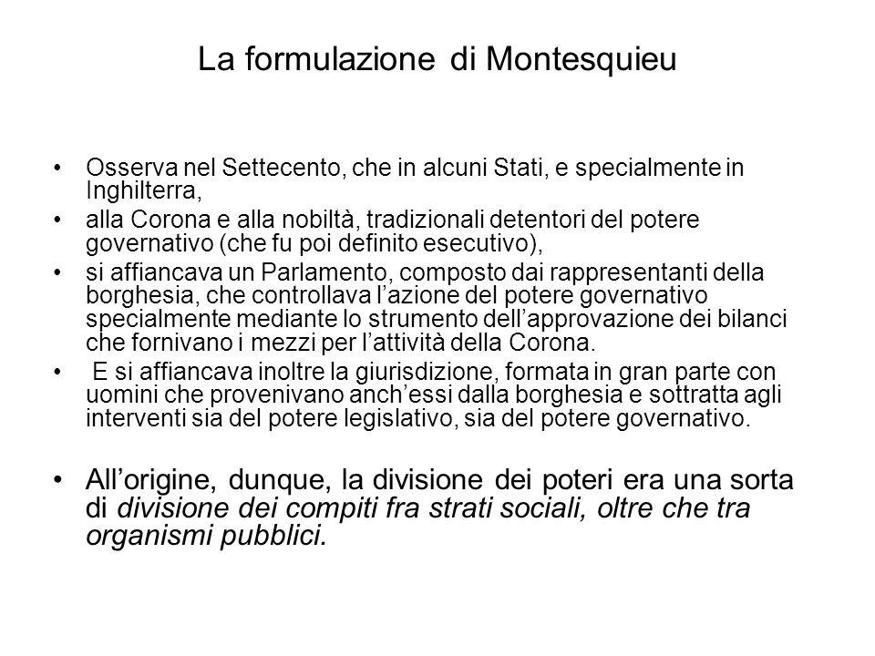 La formulazione di Montesquieu