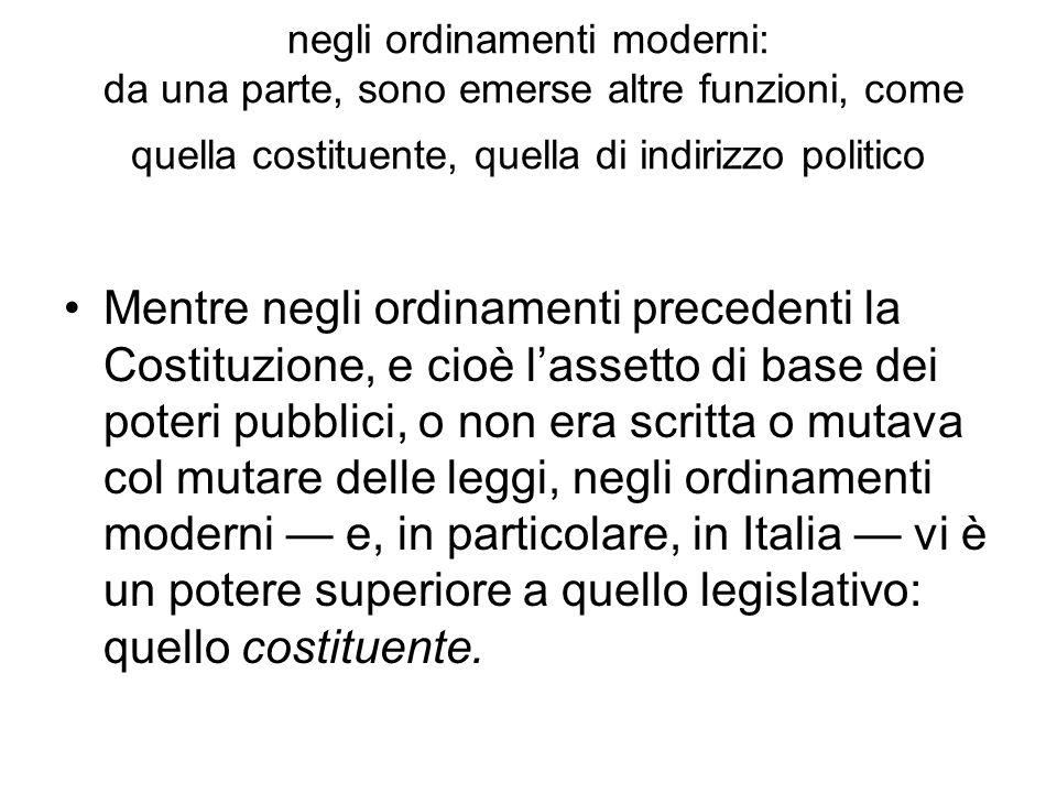 negli ordinamenti moderni: da una parte, sono emerse altre funzioni, come quella costituente, quella di indirizzo politico