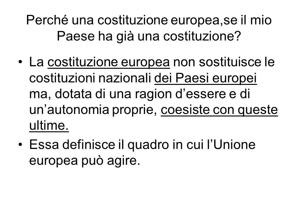 Perché una costituzione europea,se il mio Paese ha già una costituzione