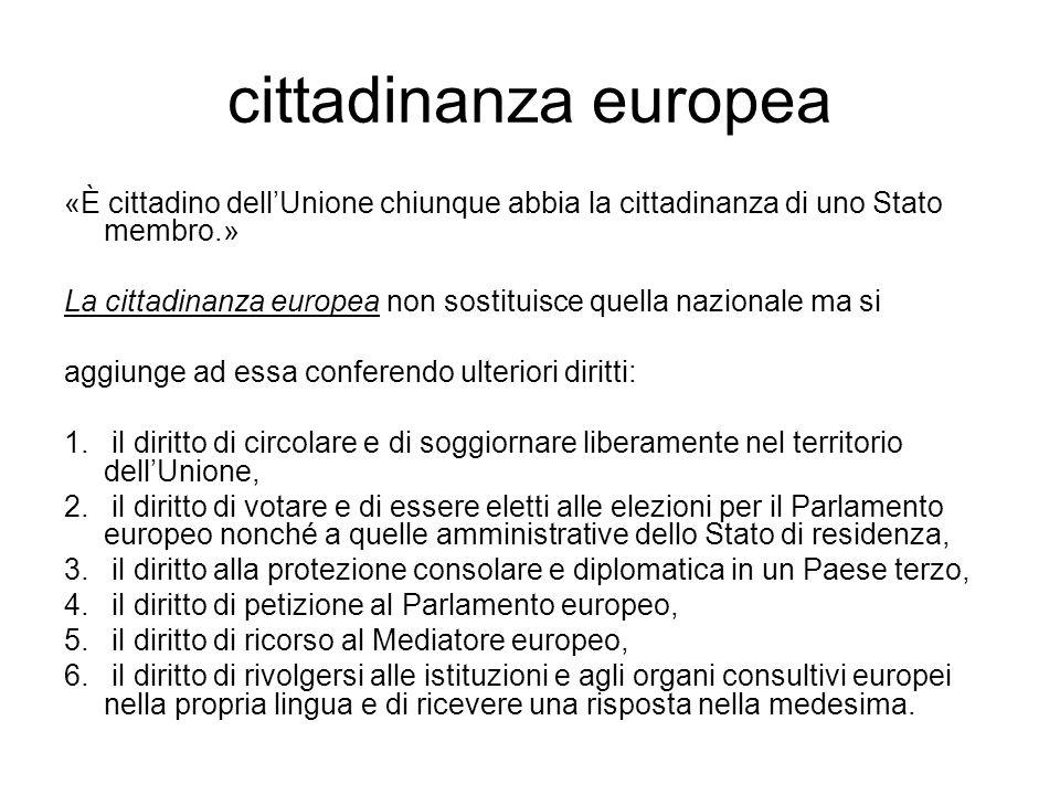 cittadinanza europea «È cittadino dell'Unione chiunque abbia la cittadinanza di uno Stato membro.»