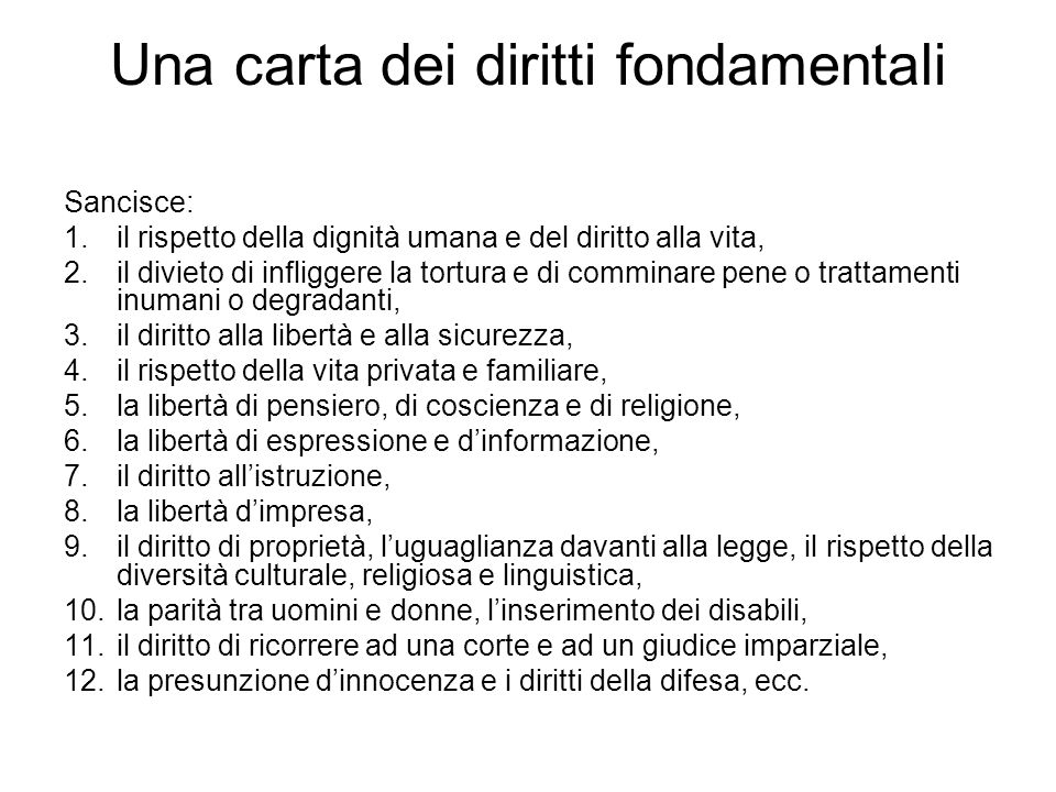 Una carta dei diritti fondamentali
