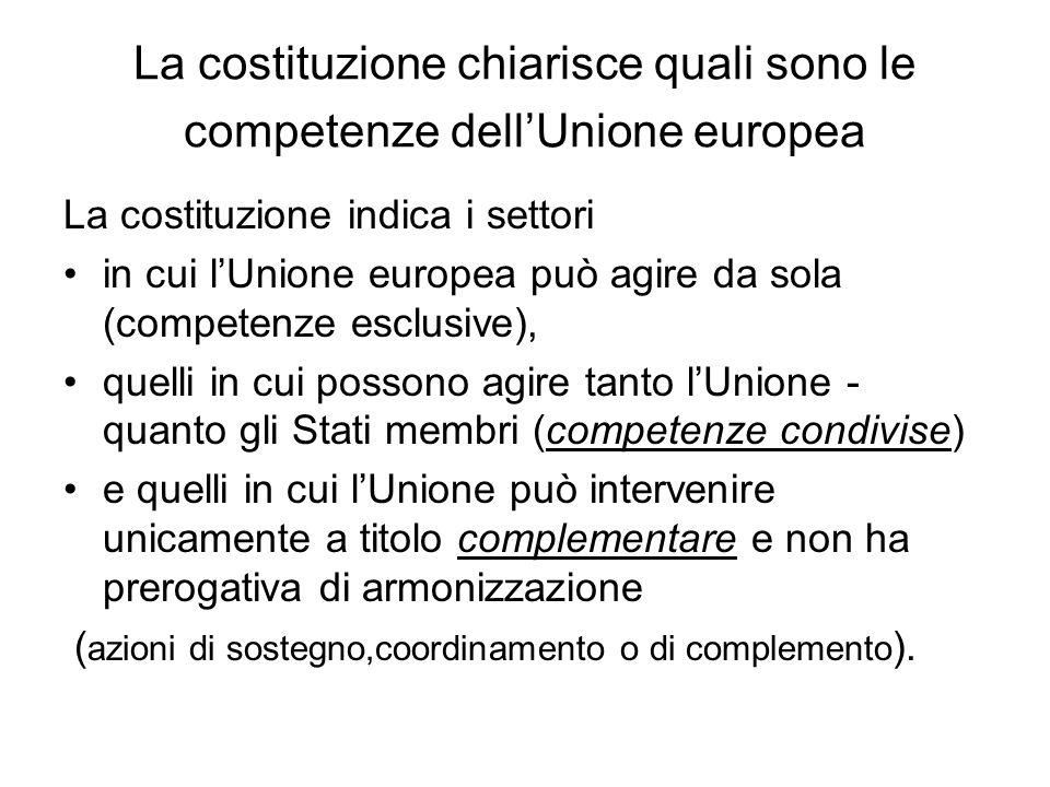 La costituzione chiarisce quali sono le competenze dell'Unione europea