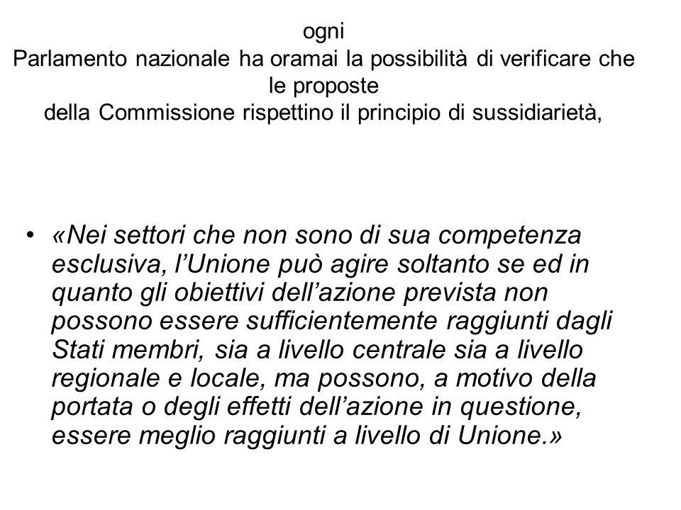 ogni Parlamento nazionale ha oramai la possibilità di verificare che le proposte della Commissione rispettino il principio di sussidiarietà,