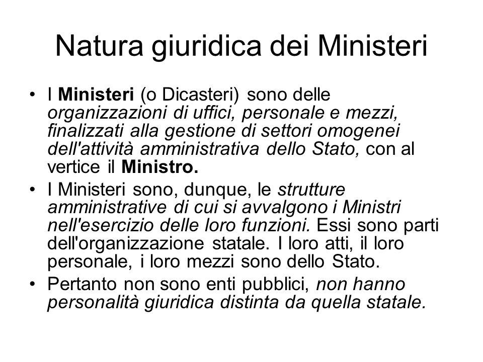 Natura giuridica dei Ministeri