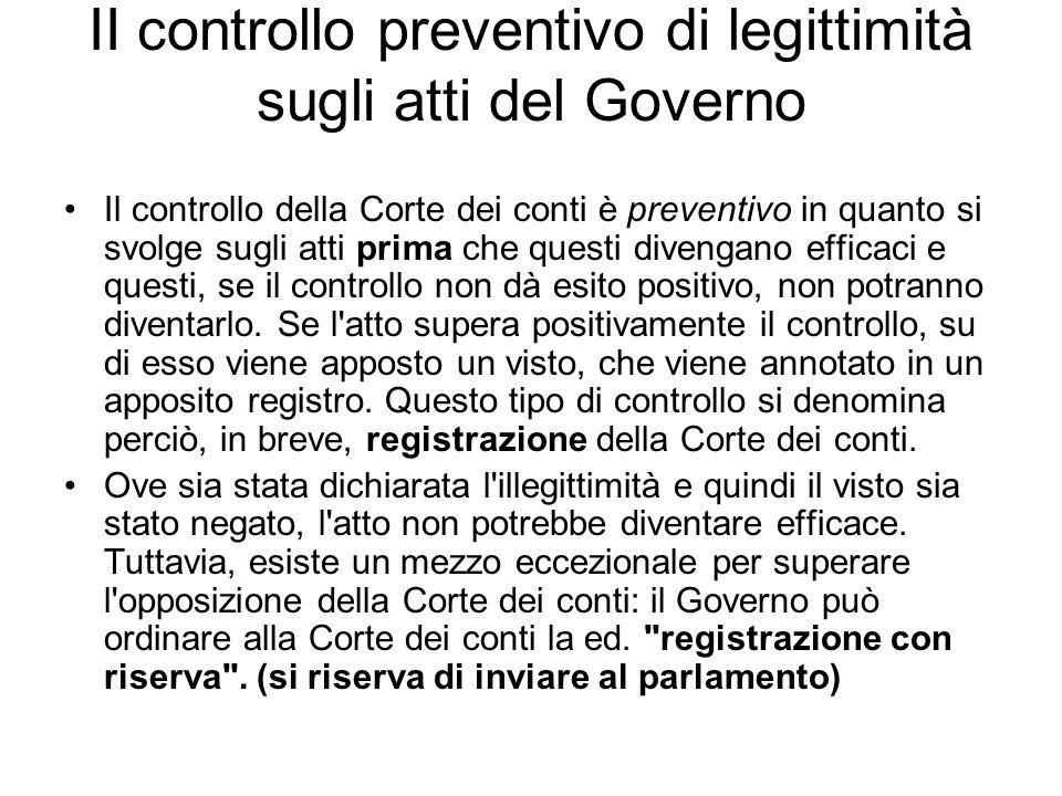 II controllo preventivo di legittimità sugli atti del Governo
