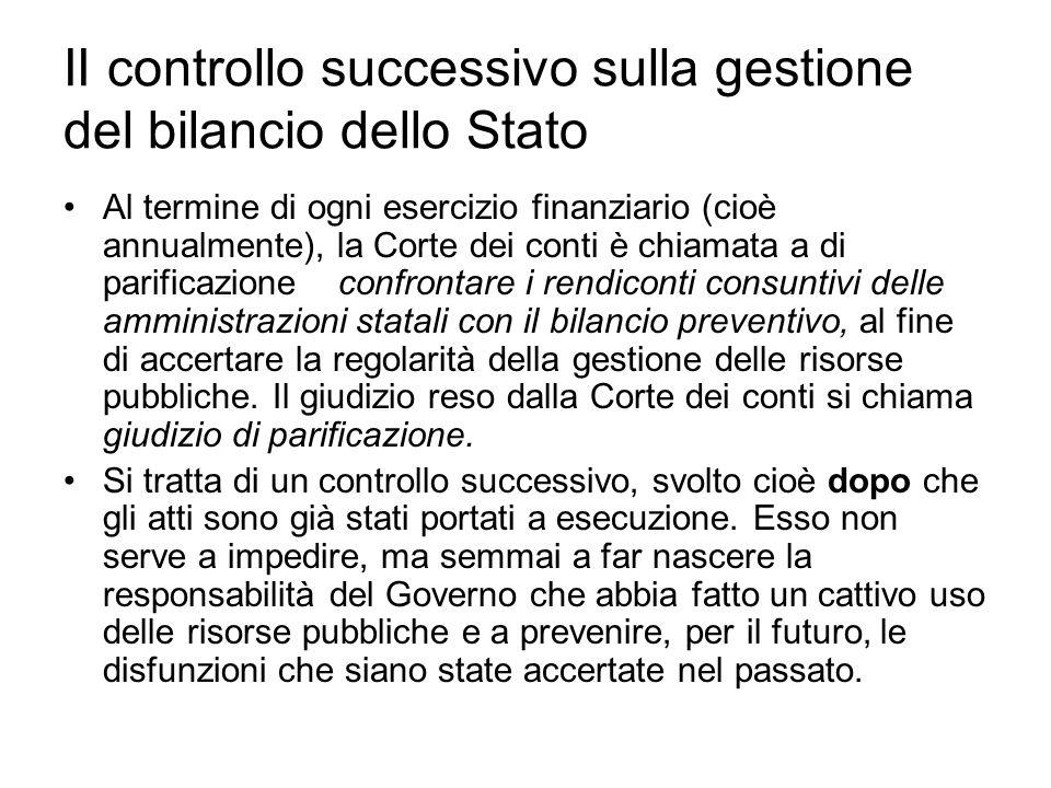 II controllo successivo sulla gestione del bilancio dello Stato