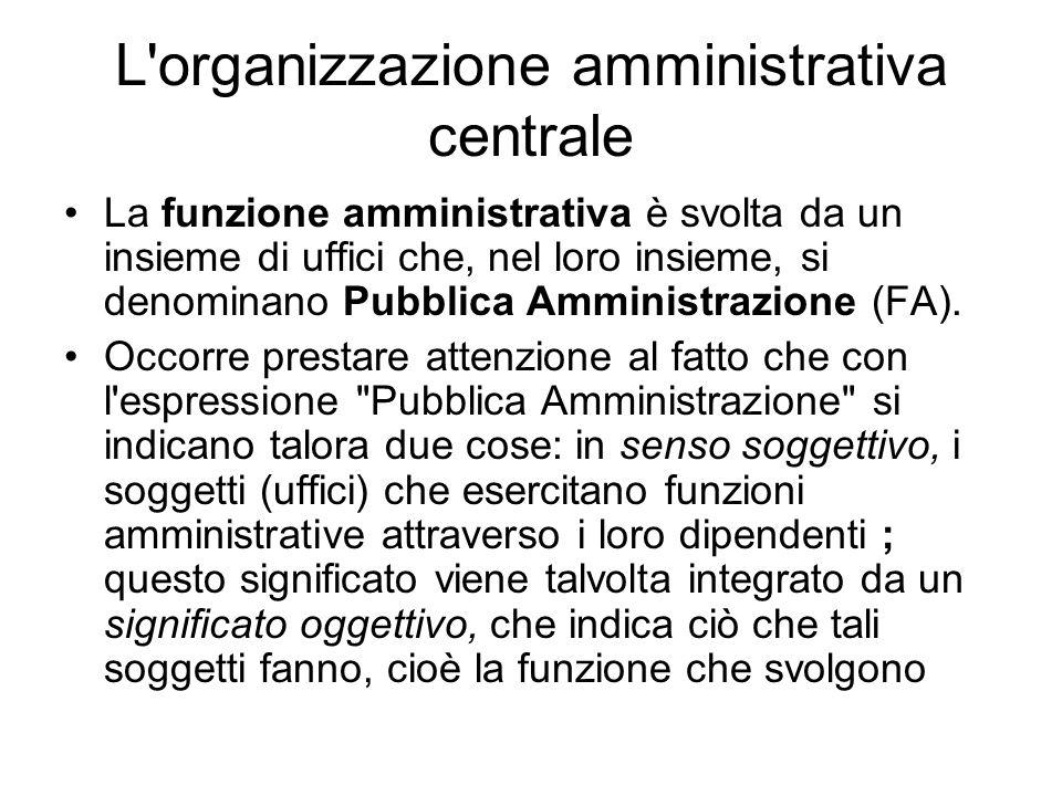 L organizzazione amministrativa centrale