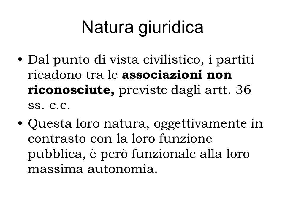 Natura giuridica Dal punto di vista civilistico, i partiti ricadono tra le associazioni non riconosciute, previste dagli artt. 36 ss. c.c.