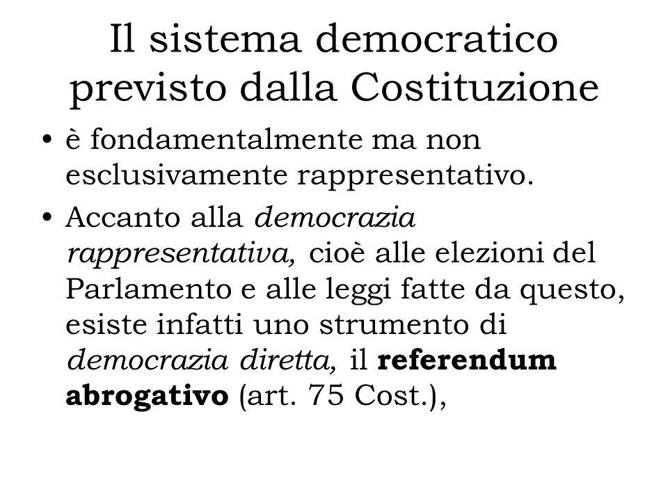 Il sistema democratico previsto dalla Costituzione