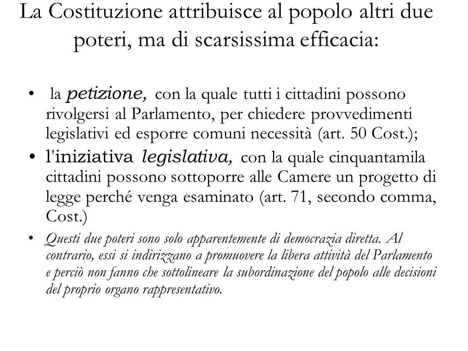 La Costituzione attribuisce al popolo altri due poteri, ma di scarsissima efficacia: