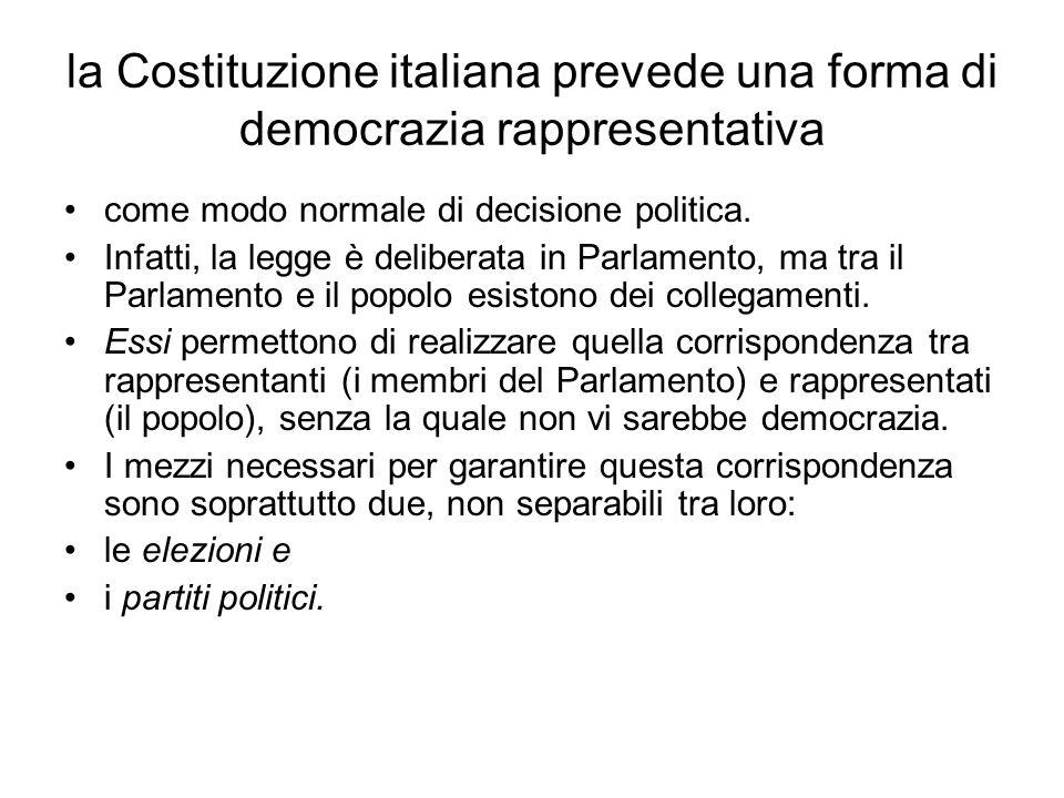 la Costituzione italiana prevede una forma di democrazia rappresentativa
