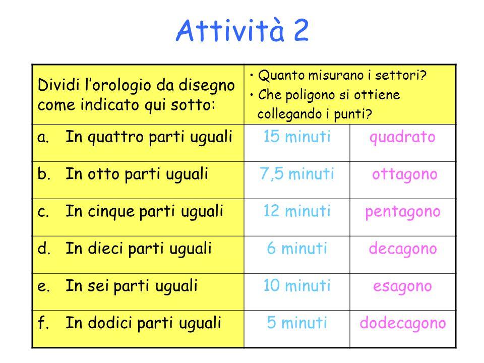 Attività 2 Dividi l'orologio da disegno come indicato qui sotto: