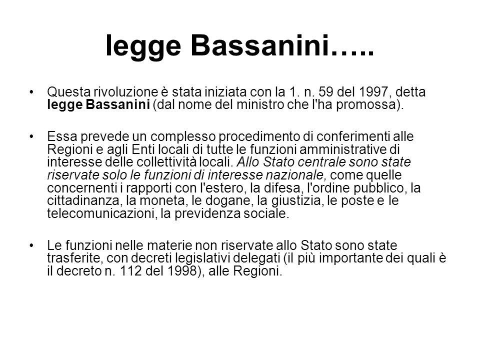 legge Bassanini….. Questa rivoluzione è stata iniziata con la 1. n. 59 del 1997, detta legge Bassanini (dal nome del ministro che l ha promossa).