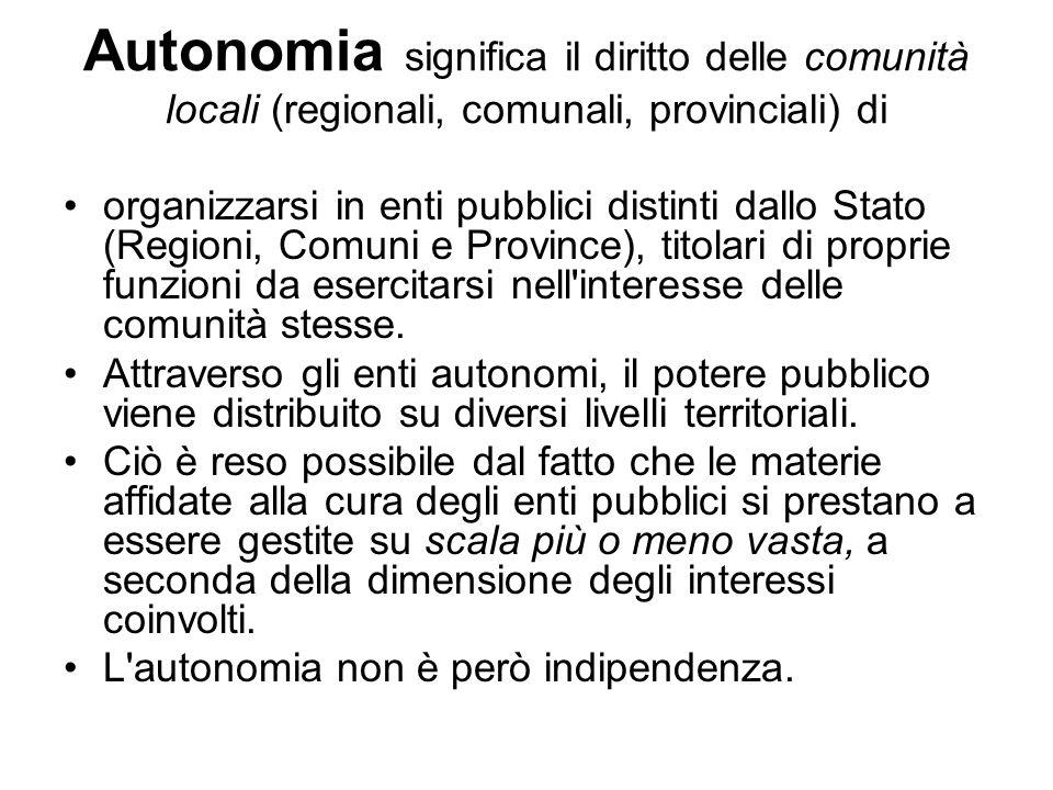 Autonomia significa il diritto delle comunità locali (regionali, comunali, provinciali) di