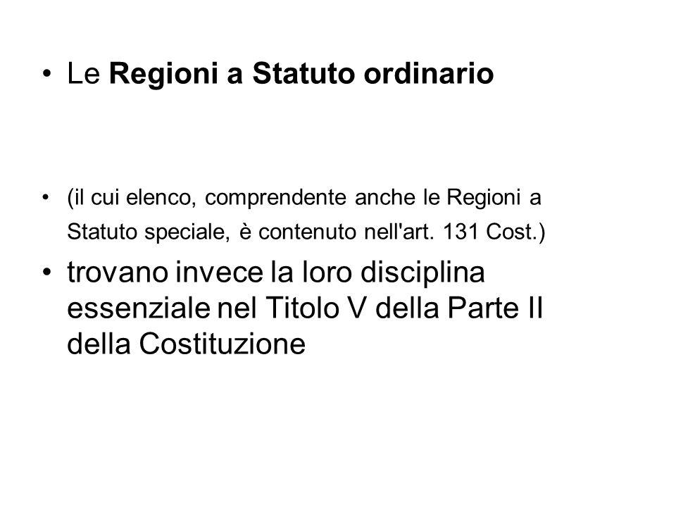 Le Regioni a Statuto ordinario