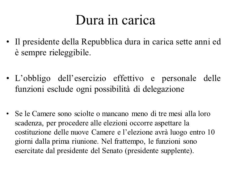Dura in carica Il presidente della Repubblica dura in carica sette anni ed è sempre rieleggibile.