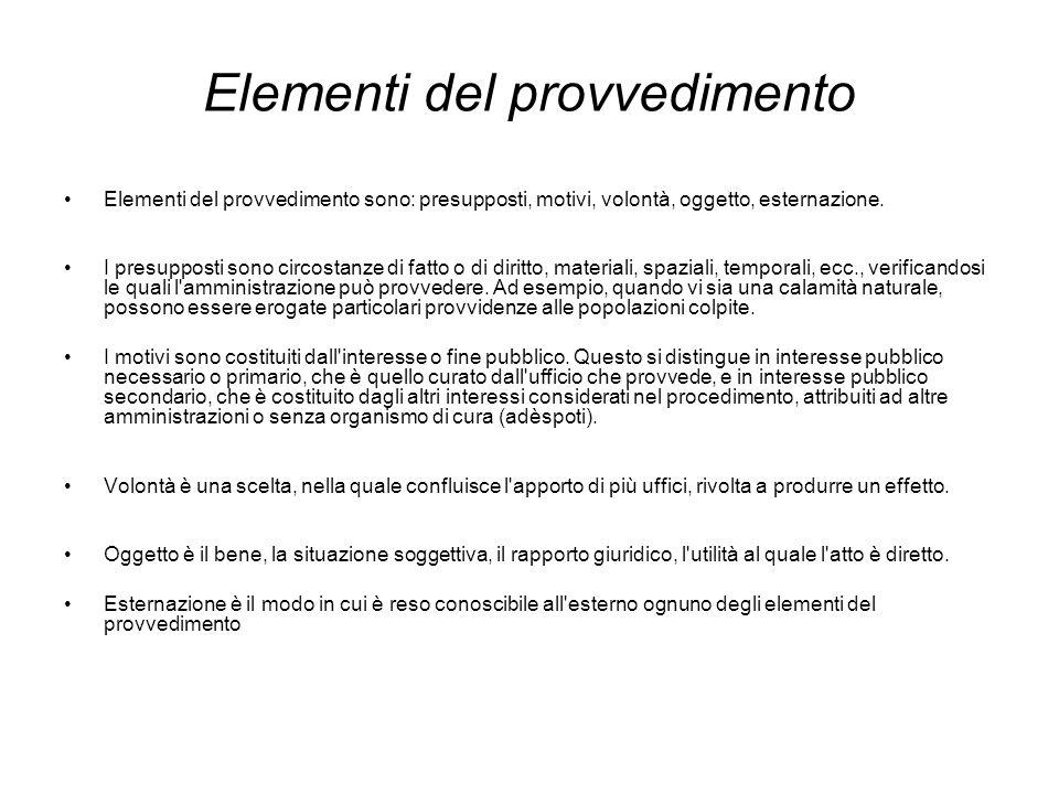 Elementi del provvedimento