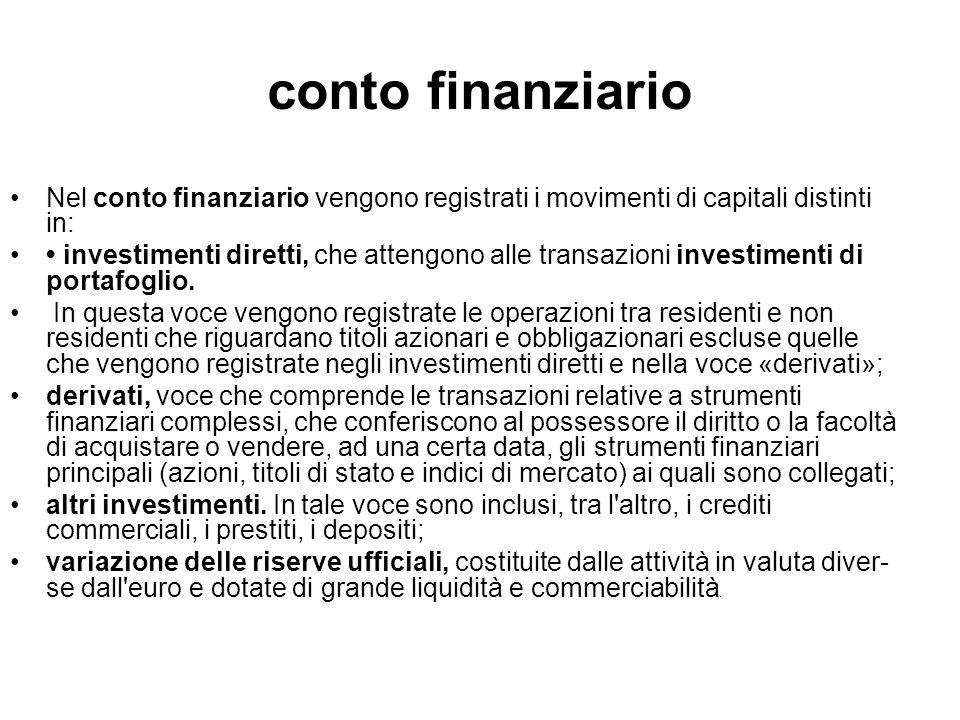 conto finanziario Nel conto finanziario vengono registrati i movimenti di capitali distinti in: