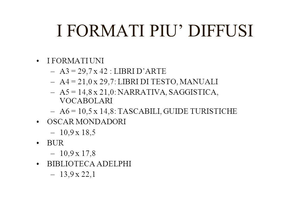 I FORMATI PIU' DIFFUSI I FORMATI UNI A3 = 29,7 x 42 : LIBRI D'ARTE