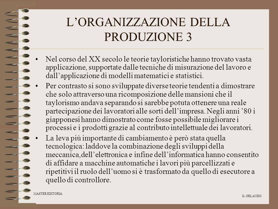 L'ORGANIZZAZIONE DELLA PRODUZIONE 3