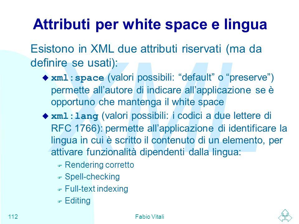 Attributi per white space e lingua