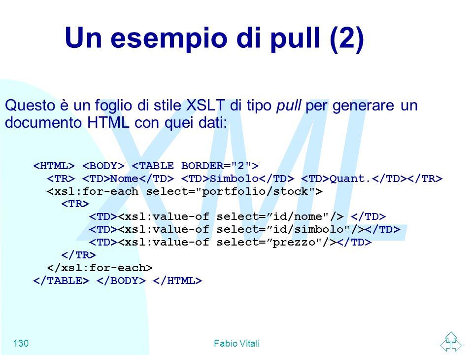 Un esempio di pull (2) Questo è un foglio di stile XSLT di tipo pull per generare un documento HTML con quei dati: