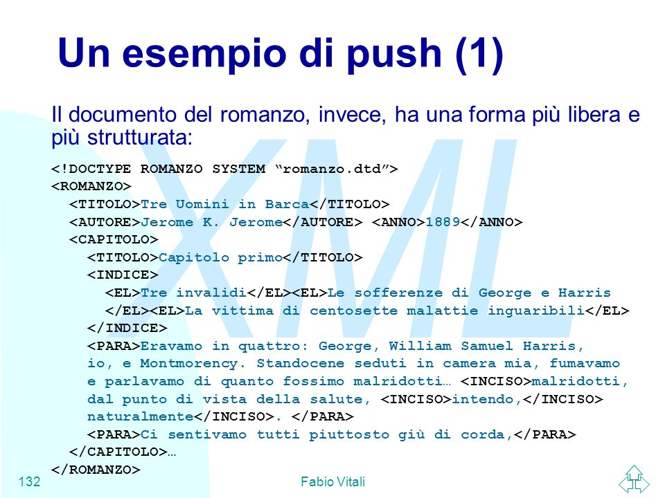 Un esempio di push (1)Il documento del romanzo, invece, ha una forma più libera e più strutturata: