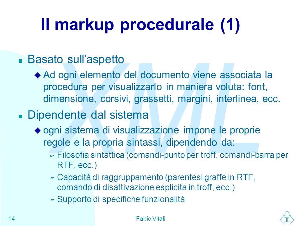 Il markup procedurale (1)