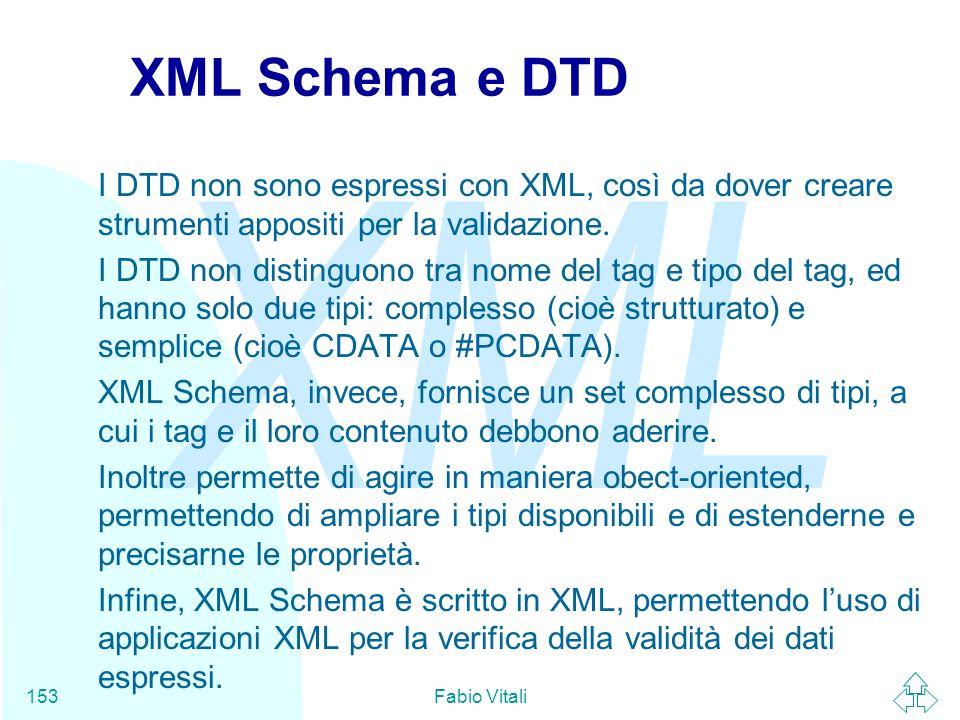 XML Schema e DTDI DTD non sono espressi con XML, così da dover creare strumenti appositi per la validazione.