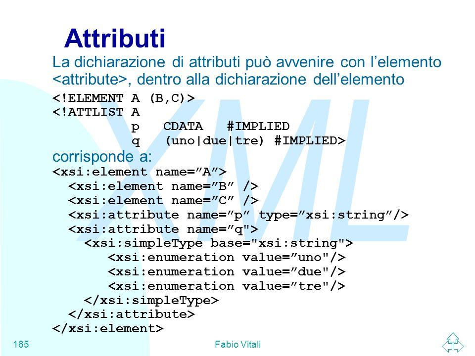 AttributiLa dichiarazione di attributi può avvenire con l'elemento <attribute>, dentro alla dichiarazione dell'elemento.