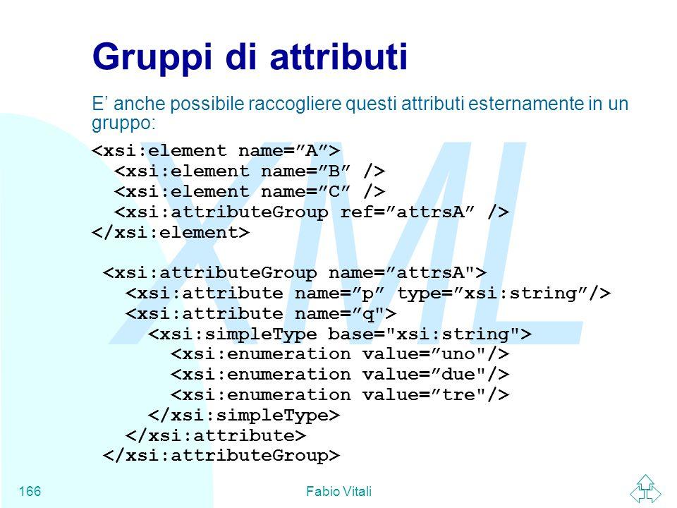 Gruppi di attributiE' anche possibile raccogliere questi attributi esternamente in un gruppo: