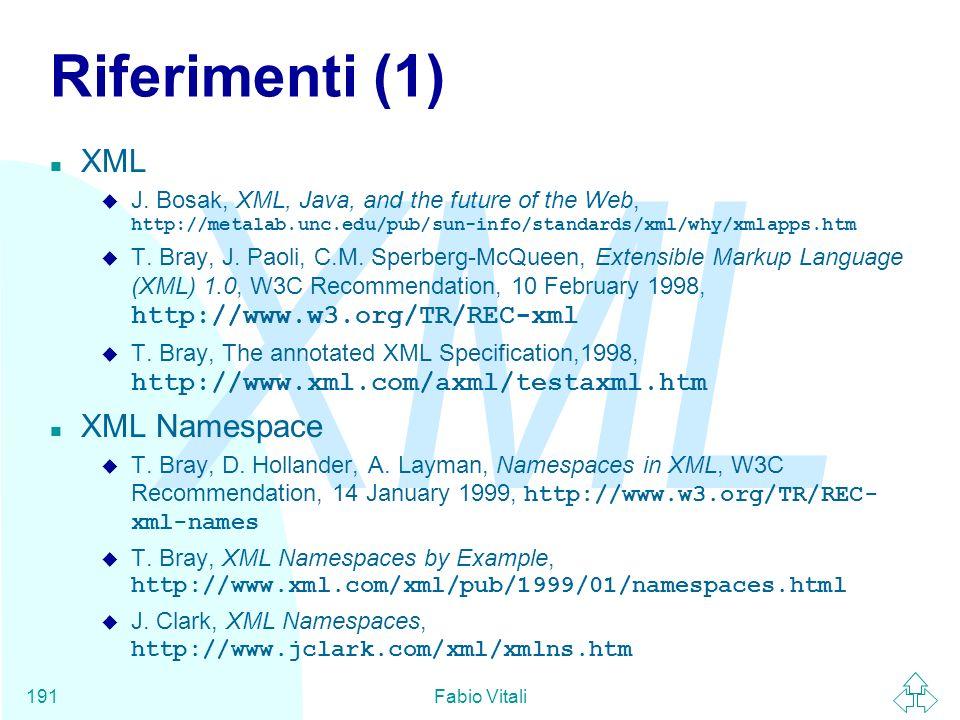 Riferimenti (1) XML XML Namespace