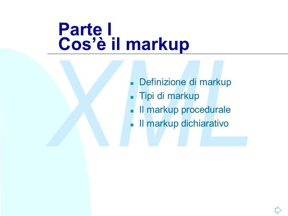 Parte I Cos'è il markup Definizione di markup Tipi di markup