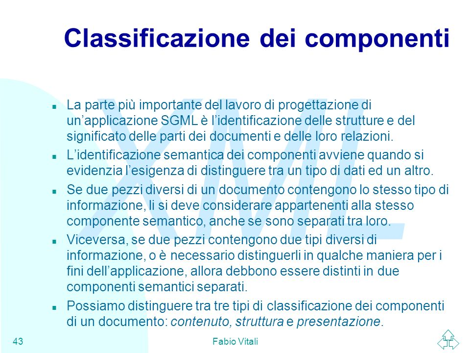 Classificazione dei componenti