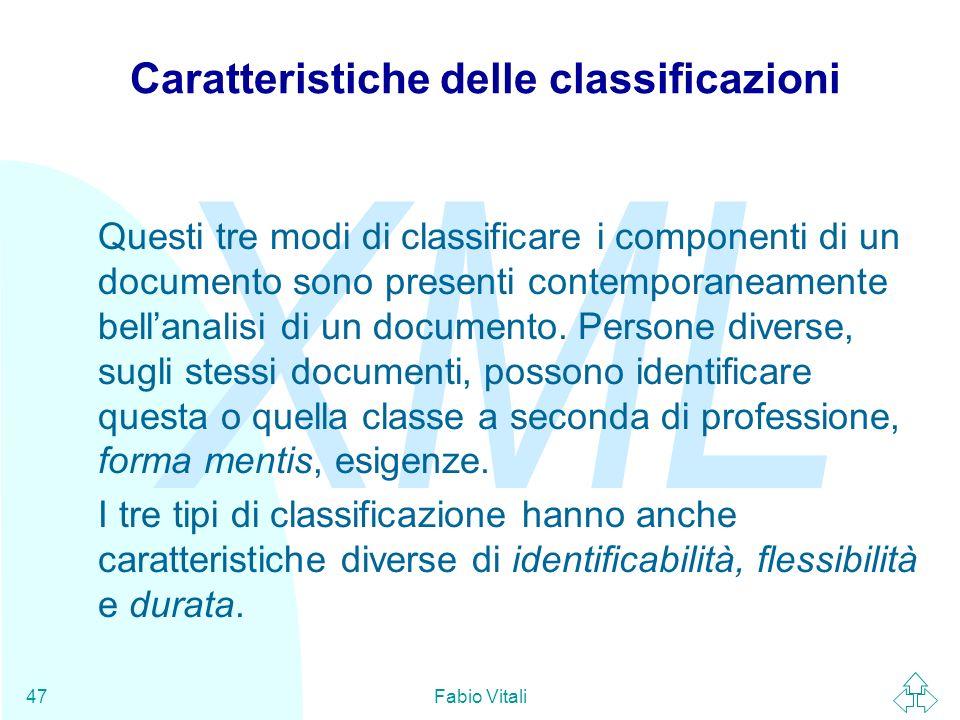 Caratteristiche delle classificazioni