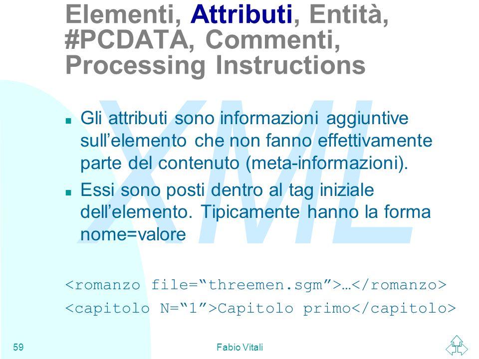Elementi, Attributi, Entità, #PCDATA, Commenti, Processing Instructions
