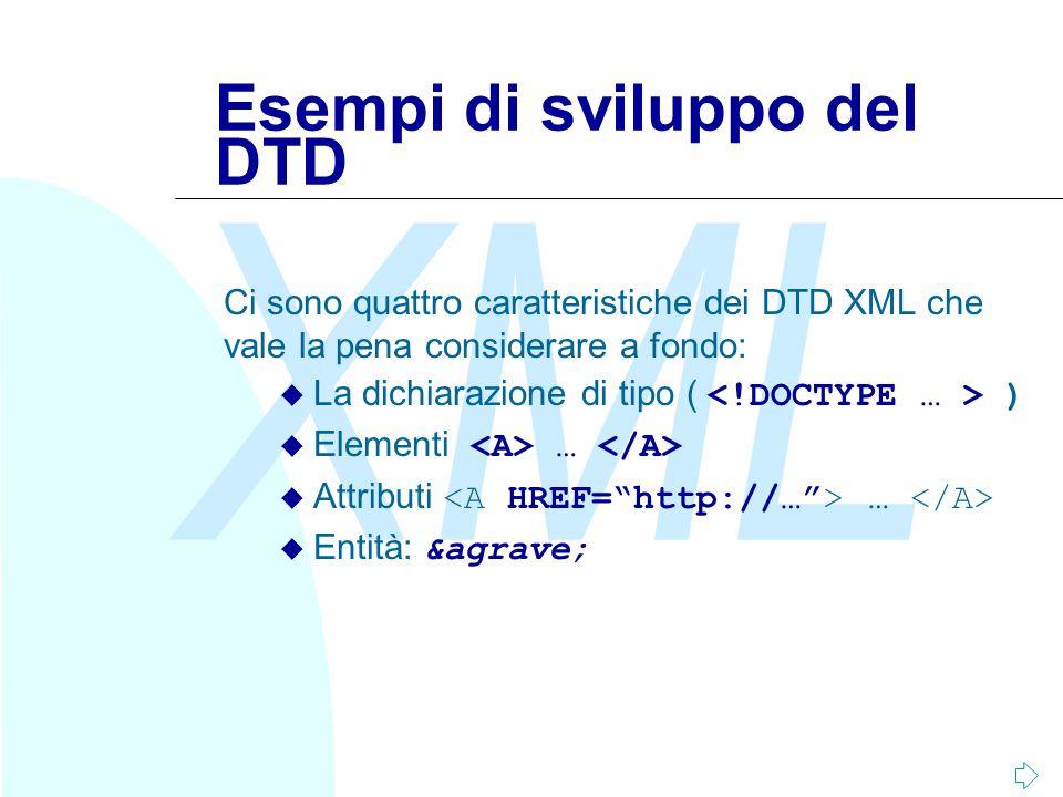 Esempi di sviluppo del DTD
