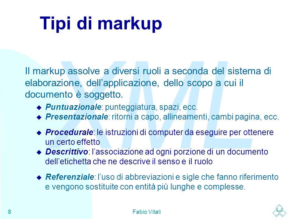 Tipi di markup Il markup assolve a diversi ruoli a seconda del sistema di elaborazione, dell'applicazione, dello scopo a cui il documento è soggetto.