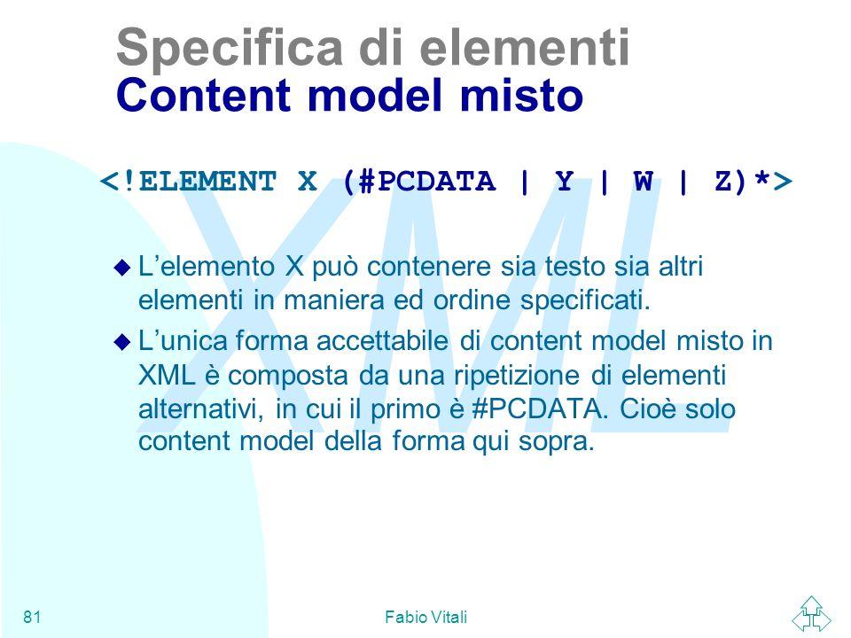 Specifica di elementi Content model misto