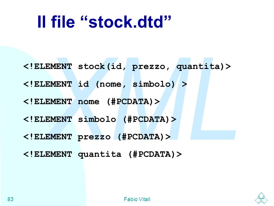 Il file stock.dtd <!ELEMENT stock(id, prezzo, quantita)>
