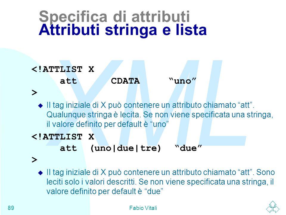 Specifica di attributi Attributi stringa e lista