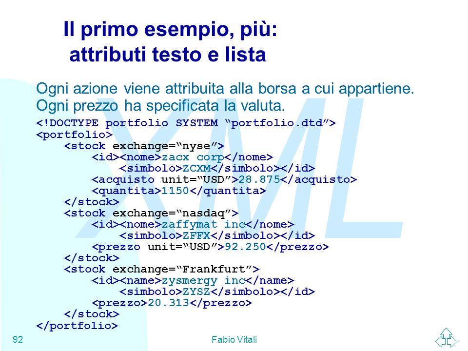 Il primo esempio, più: attributi testo e lista