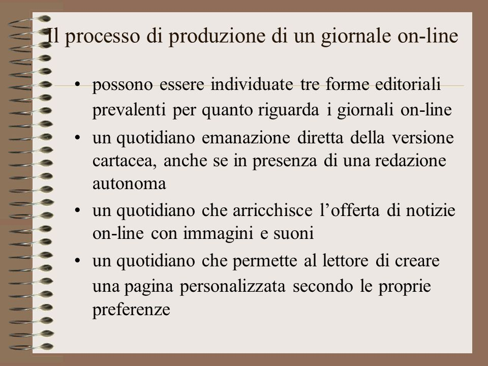 Il processo di produzione di un giornale on-line