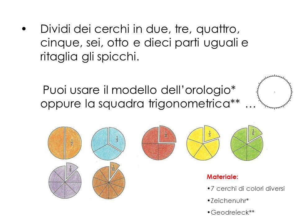 Dividi dei cerchi in due, tre, quattro, cinque, sei, otto e dieci parti uguali e ritaglia gli spicchi.