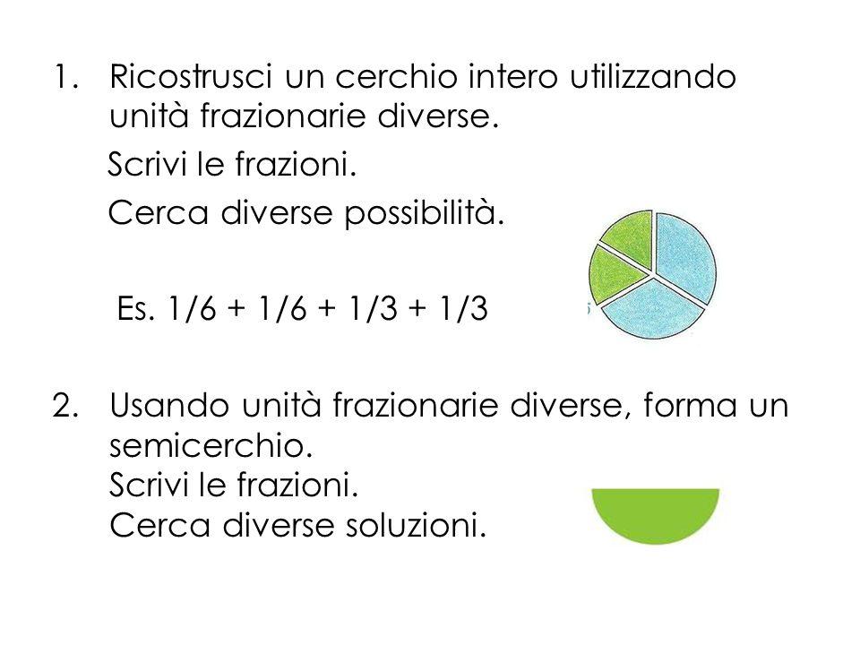 Ricostrusci un cerchio intero utilizzando unità frazionarie diverse.